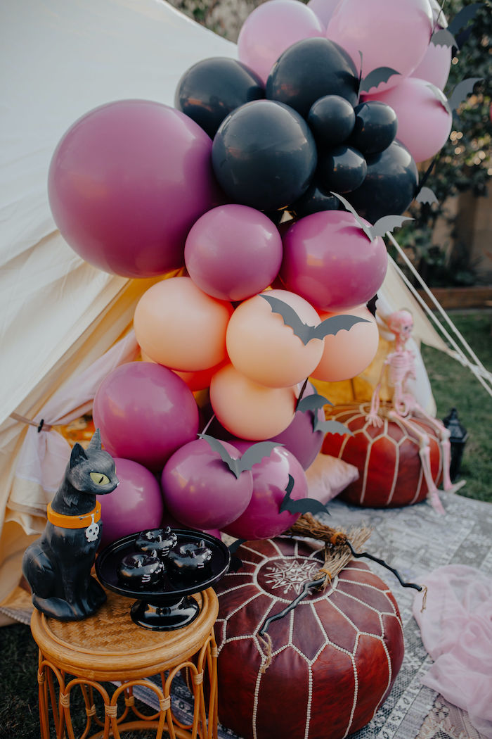 Batty Balloon Garland from a Girly Gothic Halloween Party on Kara's Party Ideas | KarasPartyIdeas.com (5)