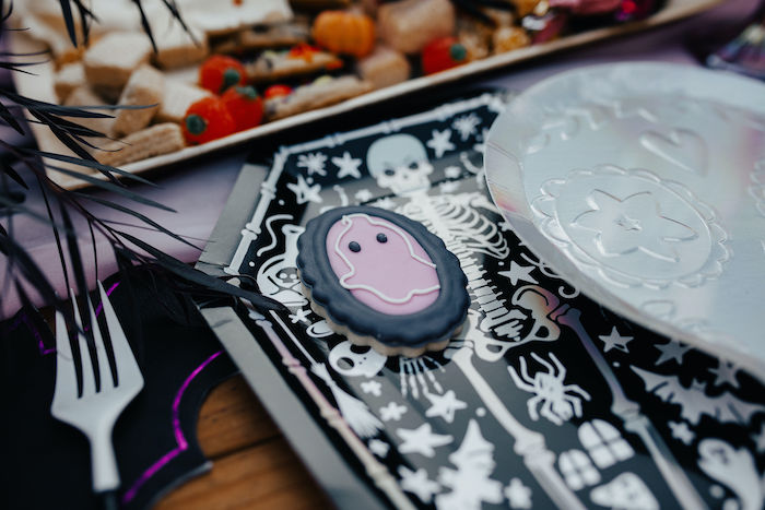 Ghost Silhouette Cookie from a Girly Gothic Halloween Party on Kara's Party Ideas | KarasPartyIdeas.com (4)