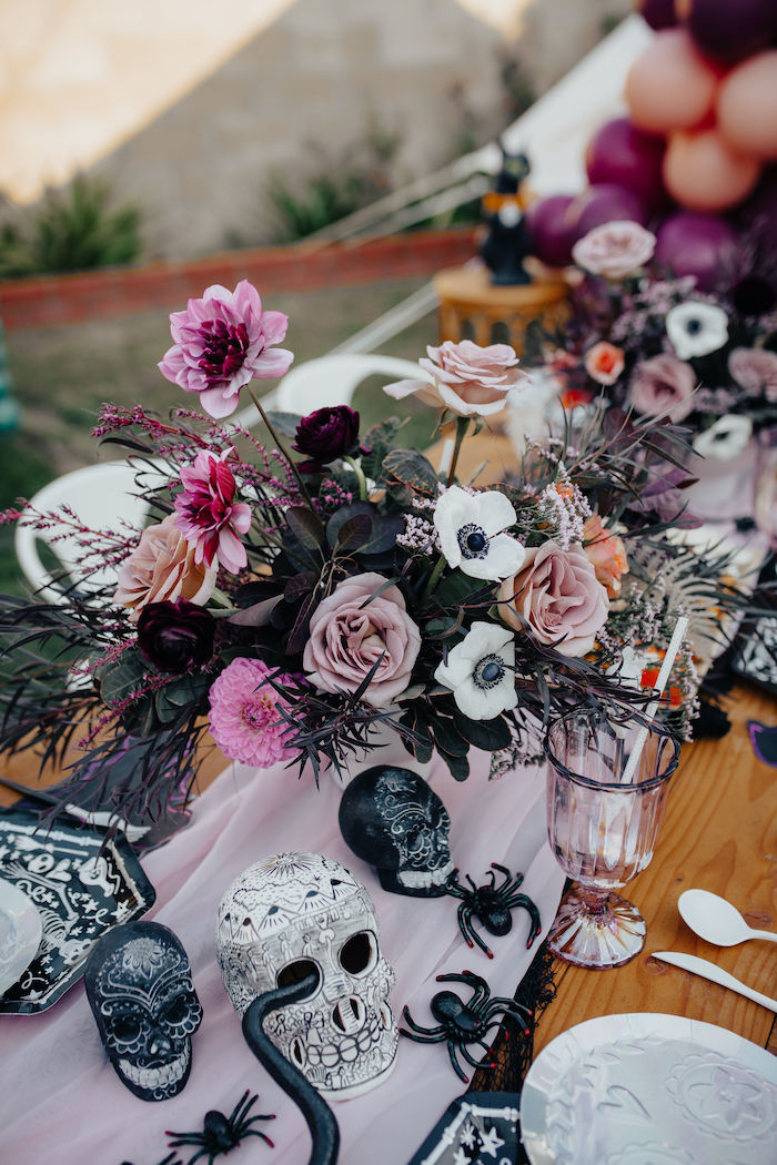 Gothic Skulls + Blooms from a Girly Gothic Halloween Party on Kara's Party Ideas | KarasPartyIdeas.com (3)