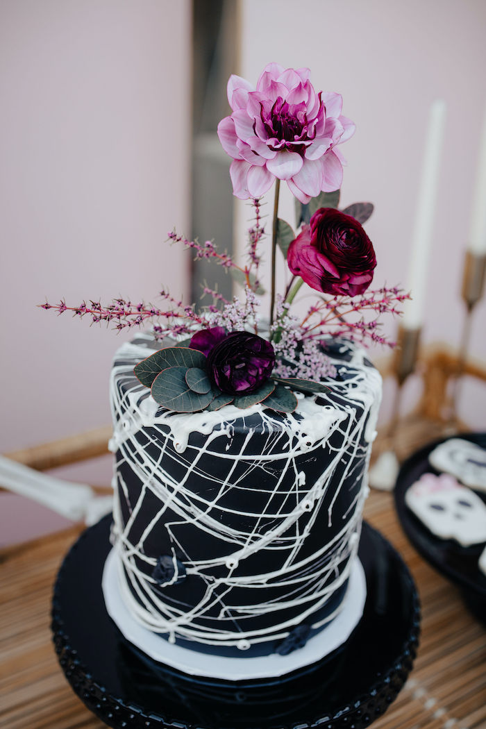 Gothic Halloween Cake from a Girly Gothic Halloween Party on Kara's Party Ideas | KarasPartyIdeas.com (29)