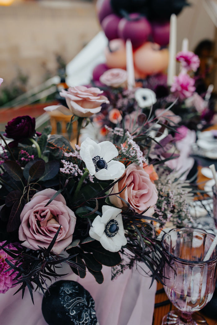 Gothic Floral Arrangement from a Girly Gothic Halloween Party on Kara's Party Ideas | KarasPartyIdeas.com (24)