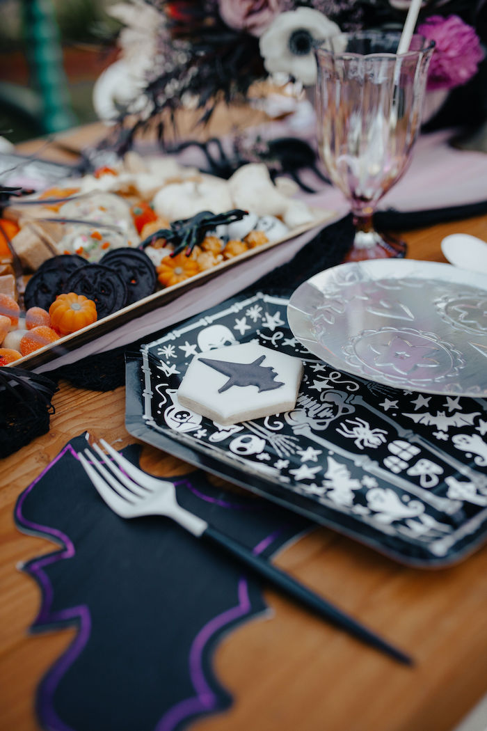 Witch Cookie - Halloween Table Setting from a Girly Gothic Halloween Party on Kara's Party Ideas | KarasPartyIdeas.com (23)