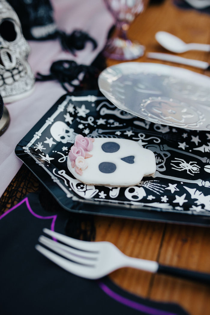Skull Cookie from a Girly Gothic Halloween Party on Kara's Party Ideas | KarasPartyIdeas.com (22)