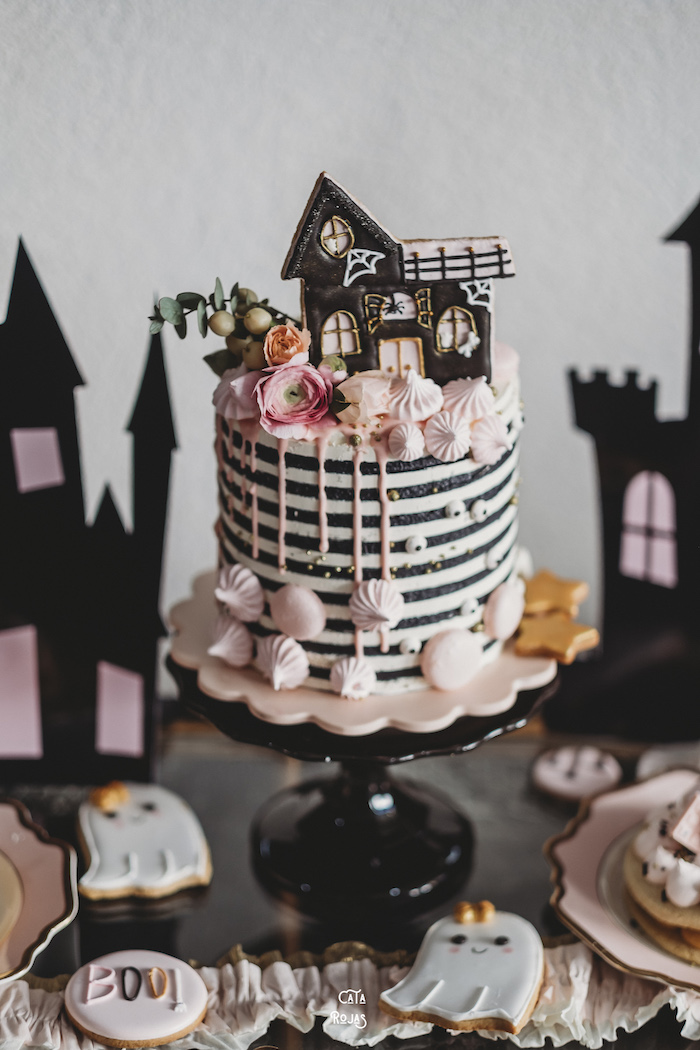 Haunted House Cake from a Glam Haunted House Halloween Party on Kara's Party Ideas | KarasPartyIdeas.com (16)