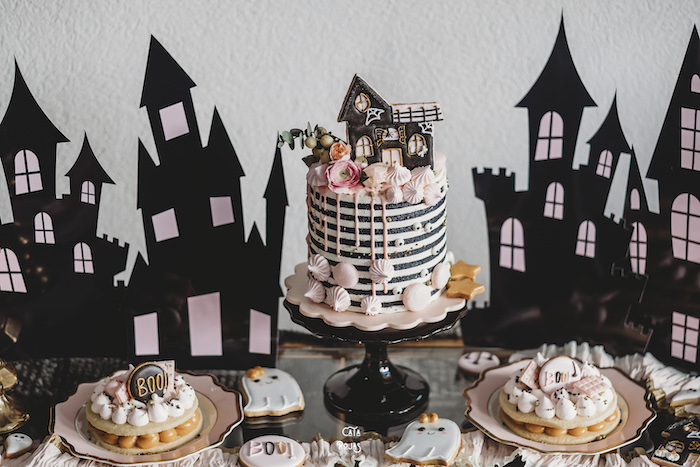 Haunted House Cake Table from a Glam Haunted House Halloween Party on Kara's Party Ideas | KarasPartyIdeas.com (15)