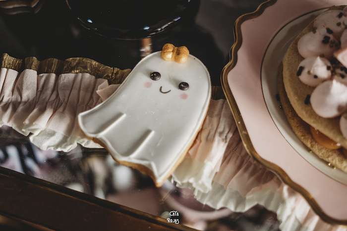 Ghost Cookie from a Glam Haunted House Halloween Party on Kara's Party Ideas | KarasPartyIdeas.com (5)