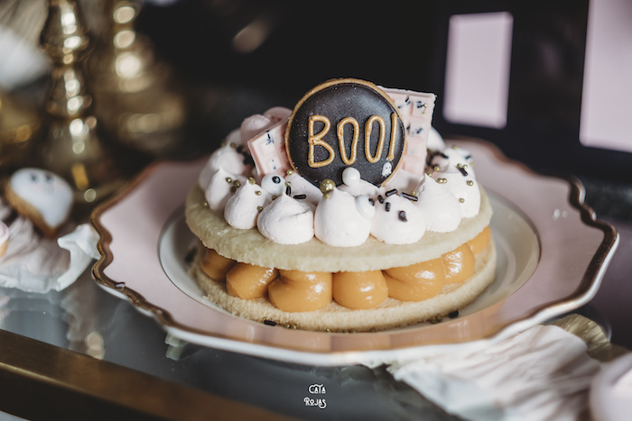 BOO Pastry Cake from a Glam Haunted House Halloween Party on Kara's Party Ideas | KarasPartyIdeas.com (23)