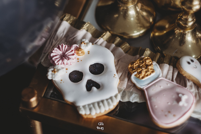 Skull Cookie from a Glam Haunted House Halloween Party on Kara's Party Ideas | KarasPartyIdeas.com (22)