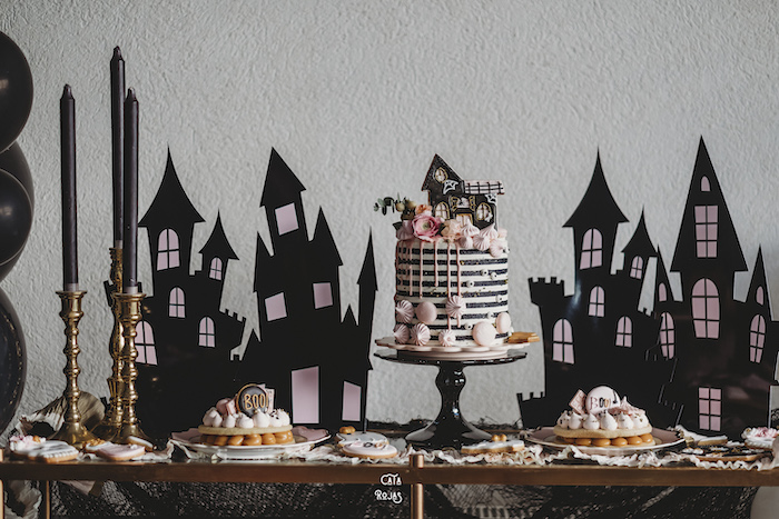 Haunted House Cake Table from a Glam Haunted House Halloween Party on Kara's Party Ideas | KarasPartyIdeas.com (21)