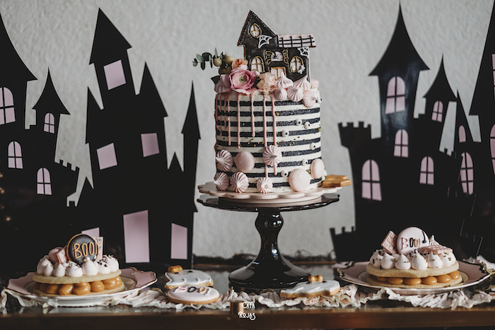Haunted House Cake Table from a Glam Haunted House Halloween Party on Kara's Party Ideas | KarasPartyIdeas.com (20)