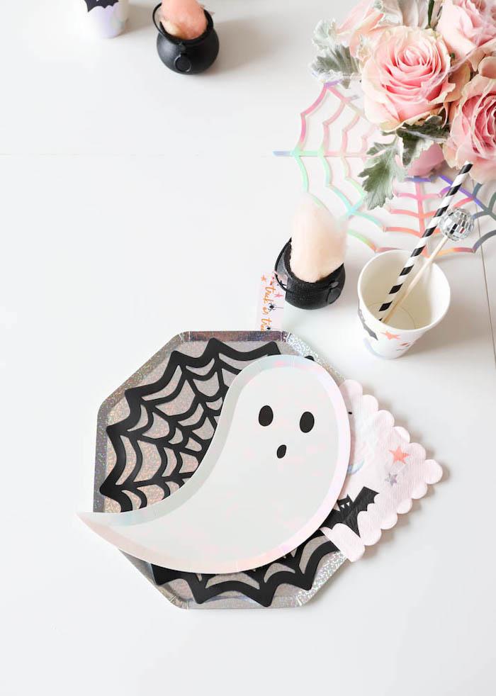 Ghost Plate Halloween Table Setting from a Halloween Spooktacular on Kara's Party Ideas | KarasPartyIdeas.com (14)