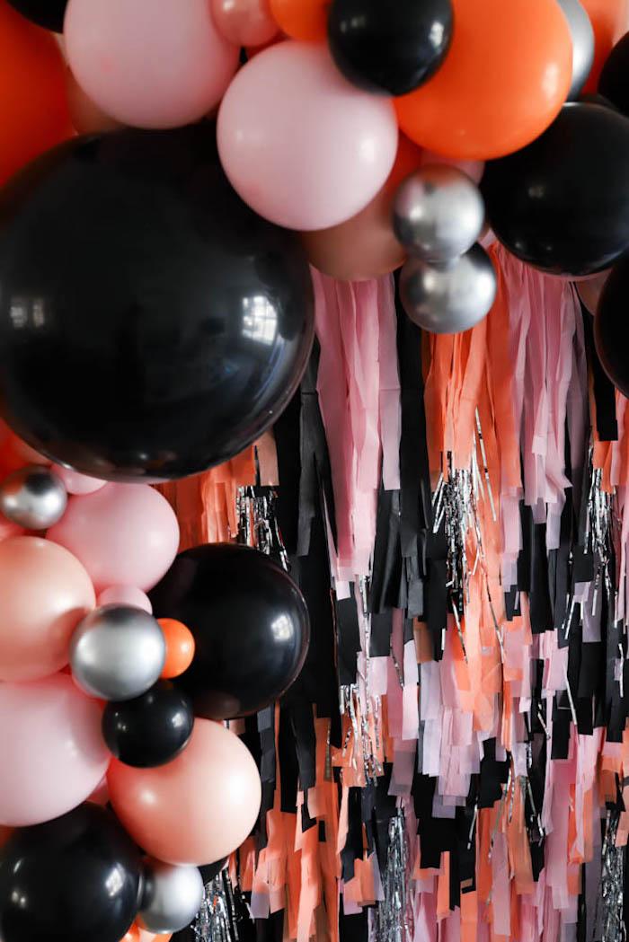Tassel Ribbon + Balloon Backdrop from a Halloween Spooktacular on Kara's Party Ideas | KarasPartyIdeas.com (26)