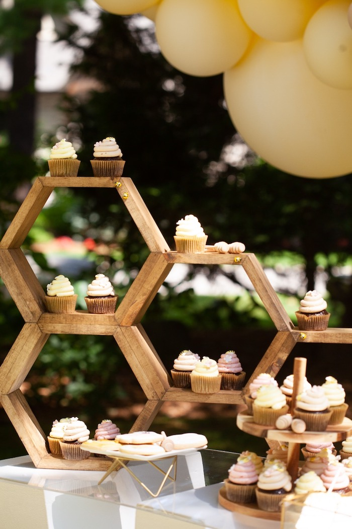 Honeycomb-inspired Cupcake Pedestal from a Hundred Acre Wood Winnie the Pooh Party on Kara's Party Ideas | KarasPartyIdeas.com (25)