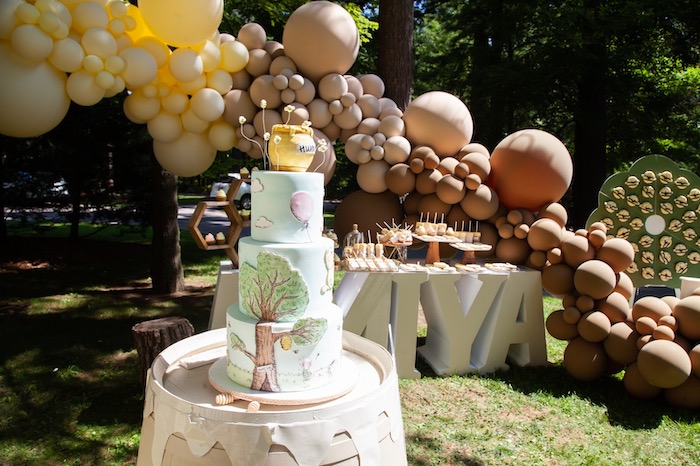 Winnie the Pooh Cake + Hunny Barrel from a Hundred Acre Wood Winnie the Pooh Party on Kara's Party Ideas | KarasPartyIdeas.com (24)