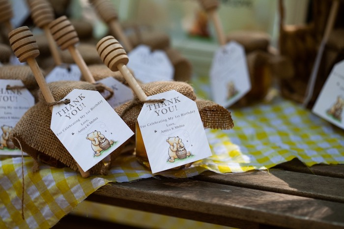 Honey Jar Favors with Custom Tag from a Hundred Acre Wood Winnie the Pooh Party on Kara's Party Ideas | KarasPartyIdeas.com (15)