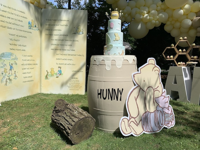Hunny Pot Cake Barrel from a Hundred Acre Wood Winnie the Pooh Party on Kara's Party Ideas | KarasPartyIdeas.com (36)
