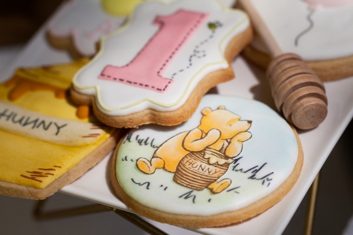 Winnie the Pooh Themed Sugar Cookies from a Hundred Acre Wood Winnie the Pooh Party on Kara's Party Ideas | KarasPartyIdeas.com (35)