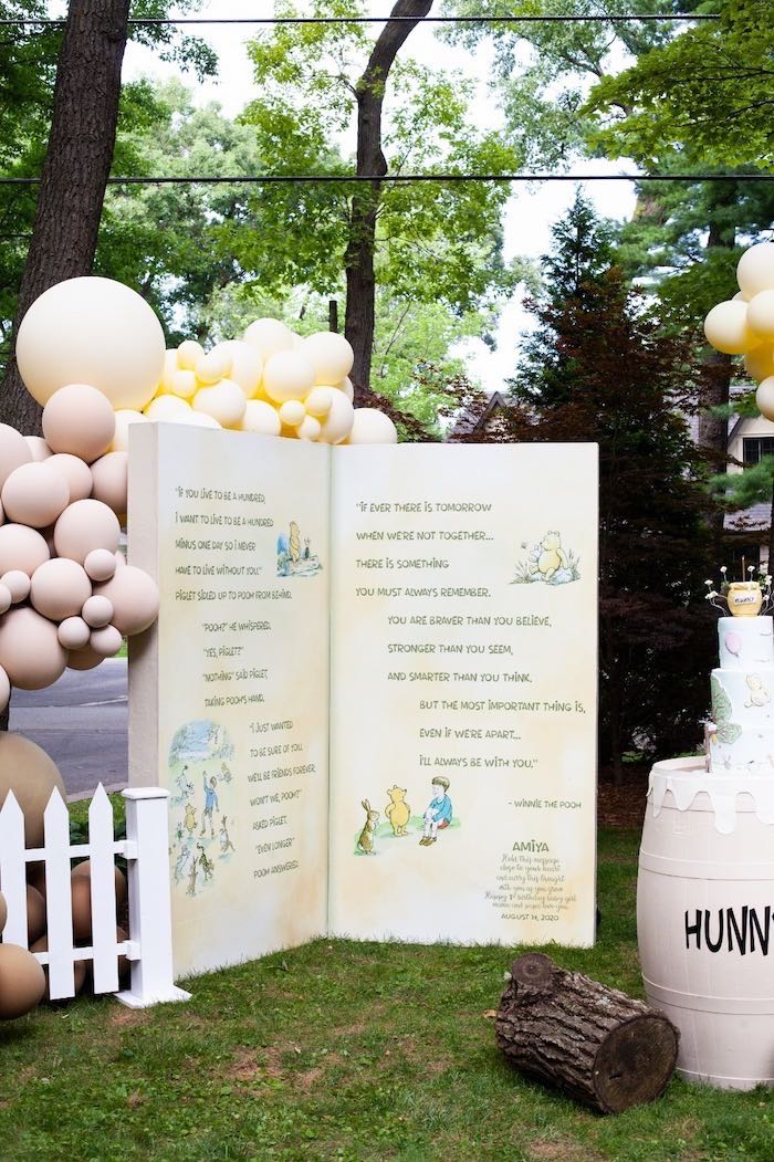 Winnie the Pooh Storybook Backdrop from a Hundred Acre Wood Winnie the Pooh Party on Kara's Party Ideas | KarasPartyIdeas.com (34)