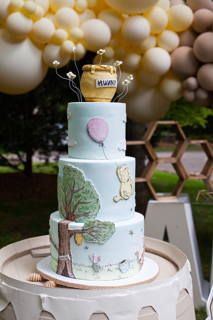 Winnie the Pooh Themed Birthday Cake from a Hundred Acre Wood Winnie the Pooh Party on Kara's Party Ideas | KarasPartyIdeas.com (33)