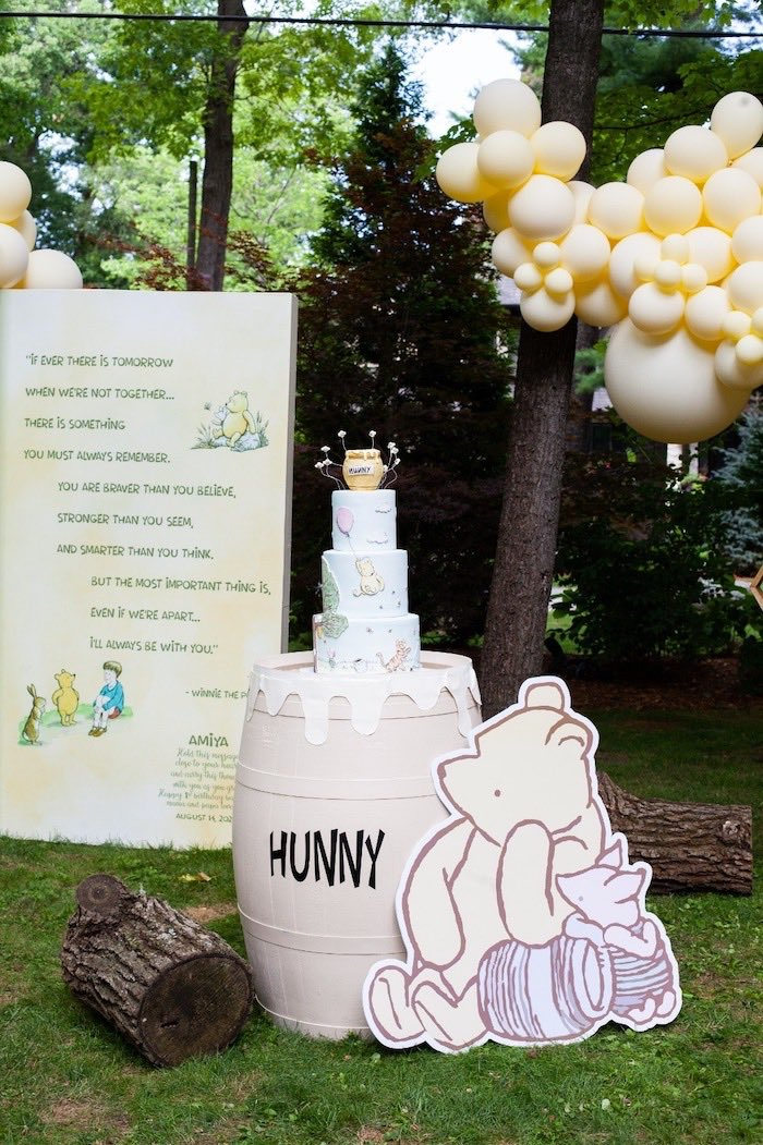 Storybook & Hunny Barrel Cake Table from a Hundred Acre Wood Winnie the Pooh Party on Kara's Party Ideas | KarasPartyIdeas.com (29)