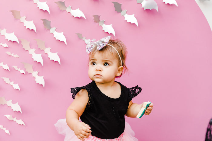 Girly Bat Backdrop from a Modern Chic Halloween Party on Kara's Party Ideas | KarasPartyIdeas.com (9)