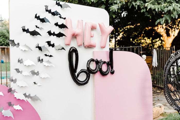 Hey Boo Balloon Banner + Halloween Backdrop from a Modern Chic Halloween Party on Kara's Party Ideas | KarasPartyIdeas.com (27)