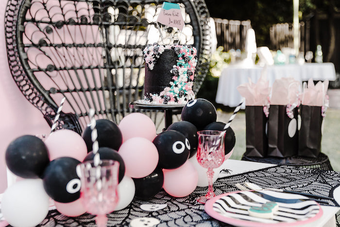 Girly Halloween Balloon Garland from a Modern Chic Halloween Party on Kara's Party Ideas | KarasPartyIdeas.com (7)
