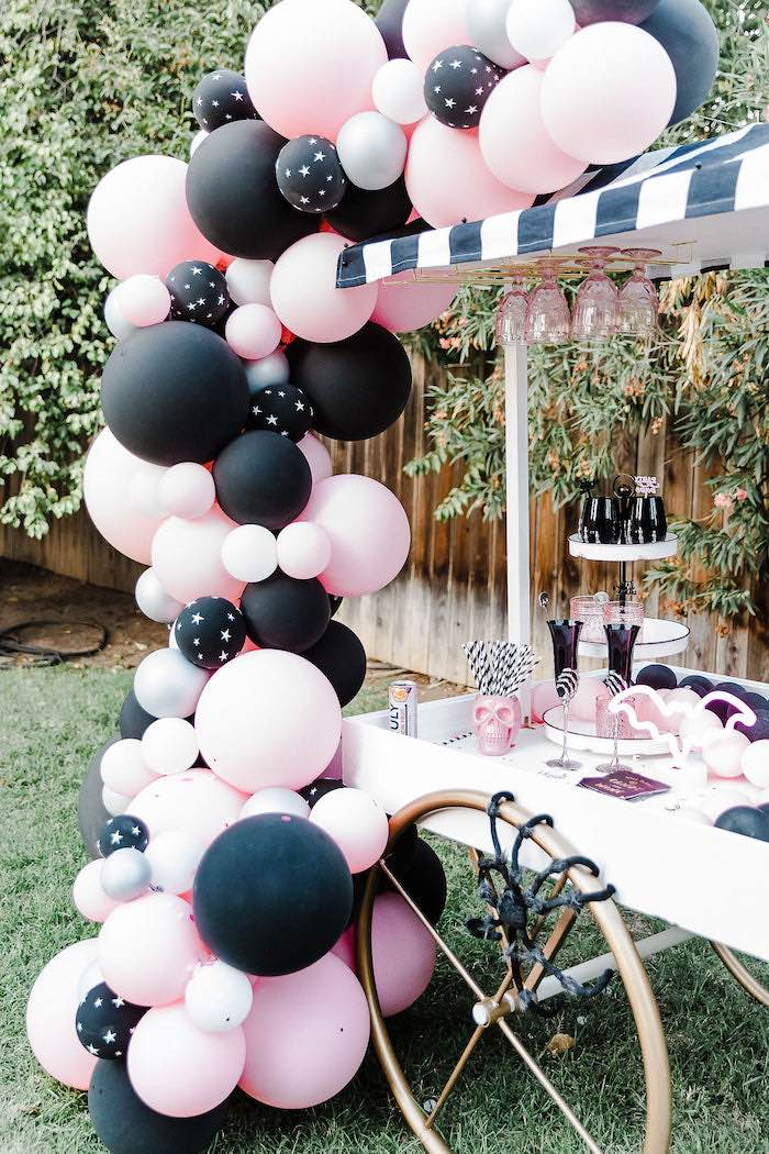 Halloween-inspired Beverage Cart from a Modern Chic Halloween Party on Kara's Party Ideas | KarasPartyIdeas.com (24)