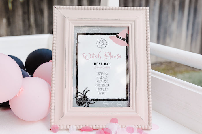 """Witch Please"" Halloween Menu from a Modern Chic Halloween Party on Kara's Party Ideas 
