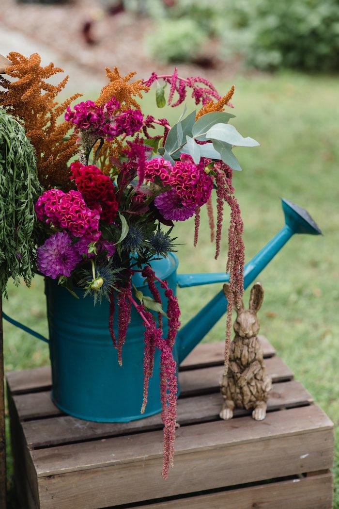 Watering Can Blooms from a Peter Rabbit & Friends Secret Garden Party on Kara's Party Ideas   KarasPartyIdeas.com (13)