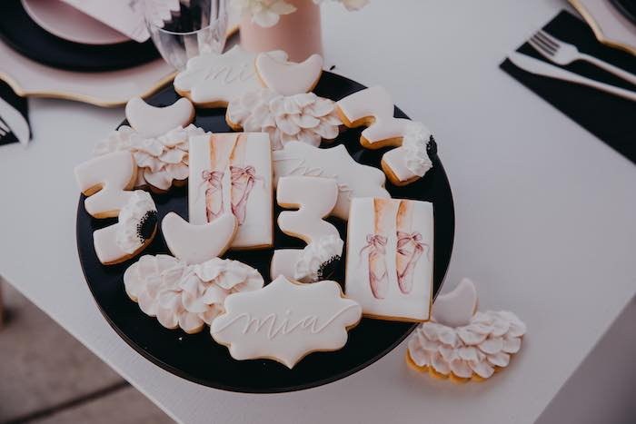 Ballet Themed Sugar Cookies from a Pink Ballerina Birthday Party on Kara's Party Ideas | KarasPartyIdeas.com (16)