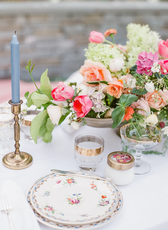 Floral Table Setting from a Poolside Picnic Party on Kara's Party Ideas | KarasPartyIdeas.com (21)