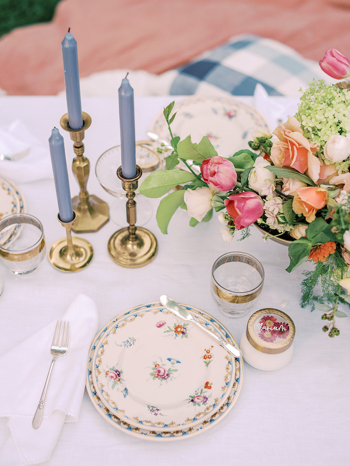 Floral Table Setting from a Poolside Picnic Party on Kara's Party Ideas | KarasPartyIdeas.com (19)