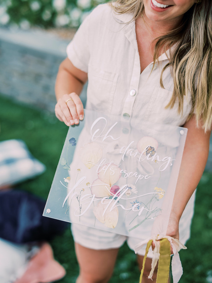 Floral Acrylic Sign from a Poolside Picnic Party on Kara's Party Ideas | KarasPartyIdeas.com (17)