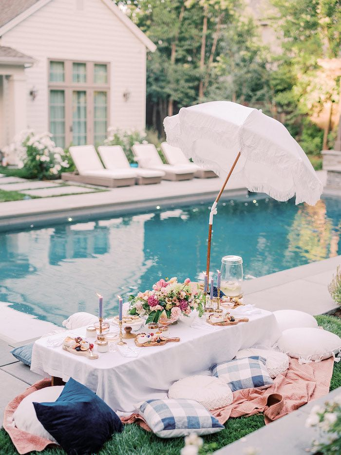 Elegant Picnic Table from a Poolside Picnic Party on Kara's Party Ideas | KarasPartyIdeas.com (13)