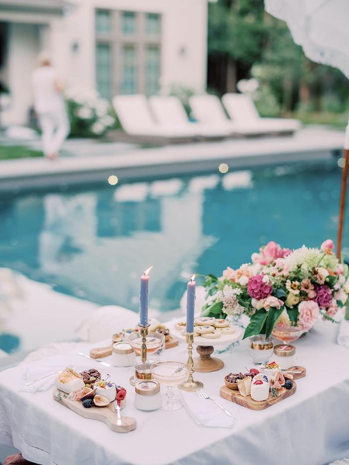 Elegant Picnic Table from a Poolside Picnic Party on Kara's Party Ideas | KarasPartyIdeas.com (11)