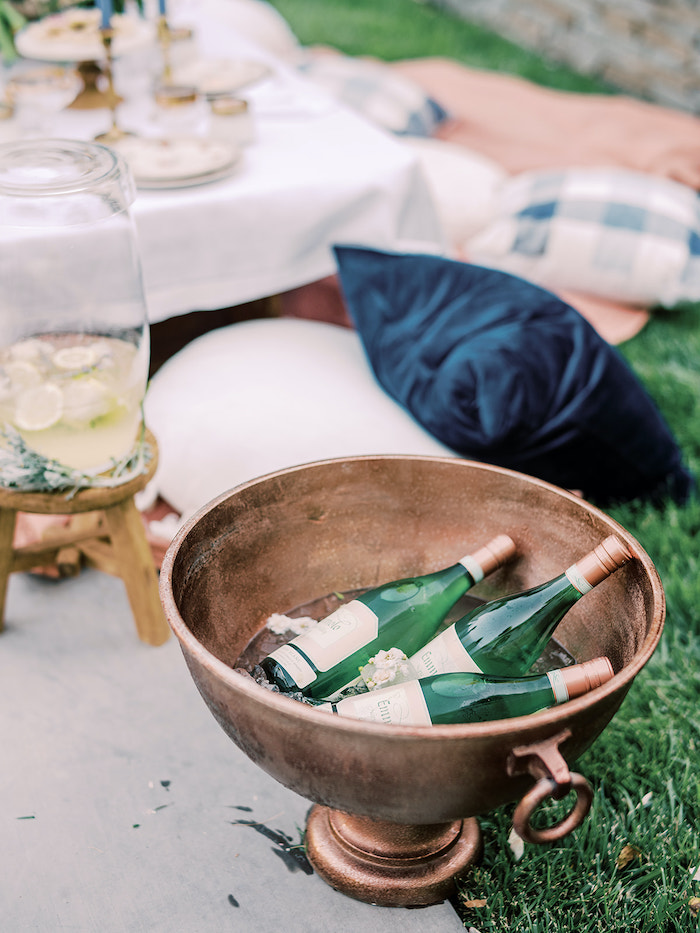 Beverage Bottles in a Bowl from a Poolside Picnic Party on Kara's Party Ideas | KarasPartyIdeas.com (8)