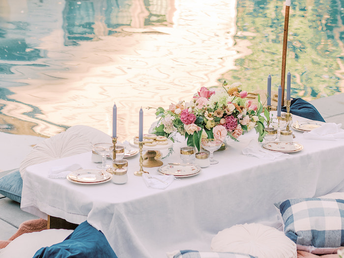 Elegant Picnic Table from a Poolside Picnic Party on Kara's Party Ideas | KarasPartyIdeas.com (7)