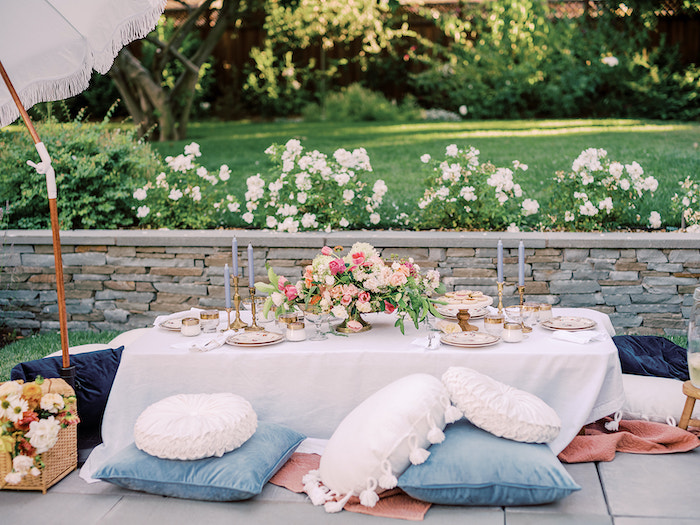 Elegant Picnic Table from a Poolside Picnic Party on Kara's Party Ideas | KarasPartyIdeas.com (6)