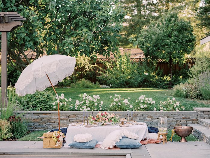 Elegant Picnic Table from a Poolside Picnic Party on Kara's Party Ideas | KarasPartyIdeas.com (5)