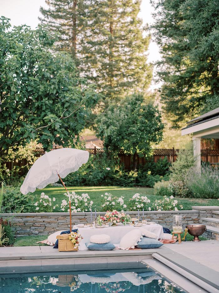 Elegant Picnic Party Table from a Poolside Picnic Party on Kara's Party Ideas | KarasPartyIdeas.com (4)