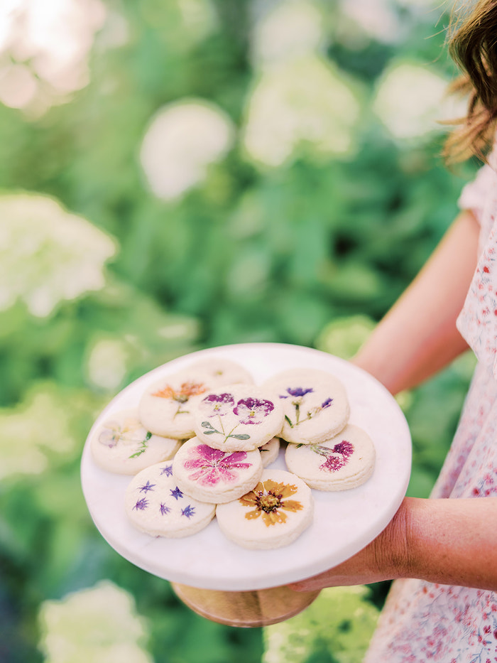 Flower pressed shortbread cookies from a Poolside Picnic Party on Kara's Party Ideas | KarasPartyIdeas.com (25)