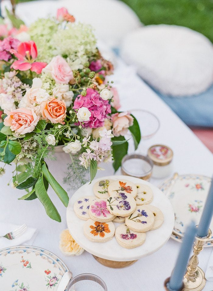 Flower pressed shortbread cookies from a Poolside Picnic Party on Kara's Party Ideas | KarasPartyIdeas.com (24)