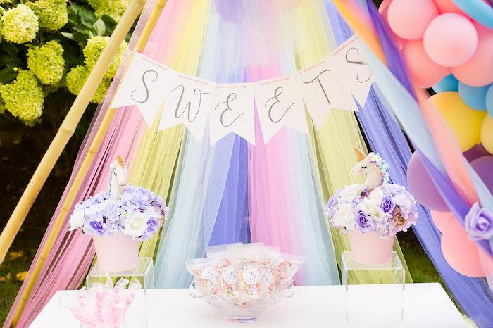 Rainbow Sweet Table from a Rainbow Unicorn Birthday Party on Kara's Party Ideas | KarasPartyIdeas.com (46)