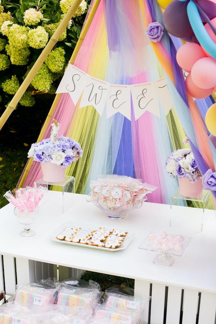 Rainbow Sweet Table from a Rainbow Unicorn Birthday Party on Kara's Party Ideas | KarasPartyIdeas.com (45)
