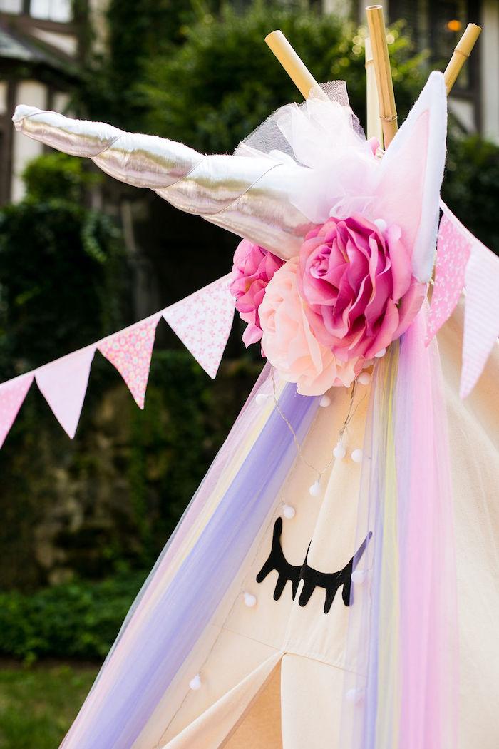 Unicorn Tent from a Rainbow Unicorn Birthday Party on Kara's Party Ideas | KarasPartyIdeas.com (41)