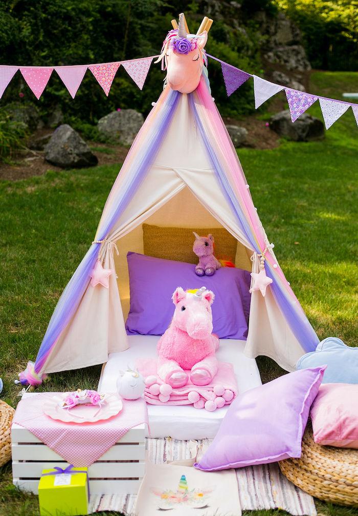 Unicorn Tent from a Rainbow Unicorn Birthday Party on Kara's Party Ideas | KarasPartyIdeas.com (40)