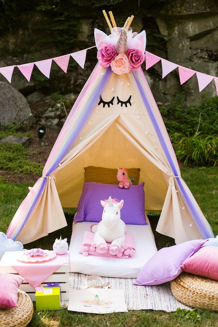 Unicorn Tent from a Rainbow Unicorn Birthday Party on Kara's Party Ideas | KarasPartyIdeas.com (39)