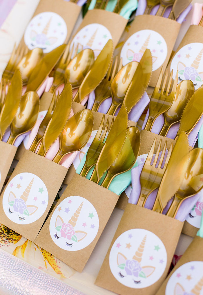 Unicorn-inspired Utensil Pack from a Rainbow Unicorn Birthday Party on Kara's Party Ideas | KarasPartyIdeas.com (37)