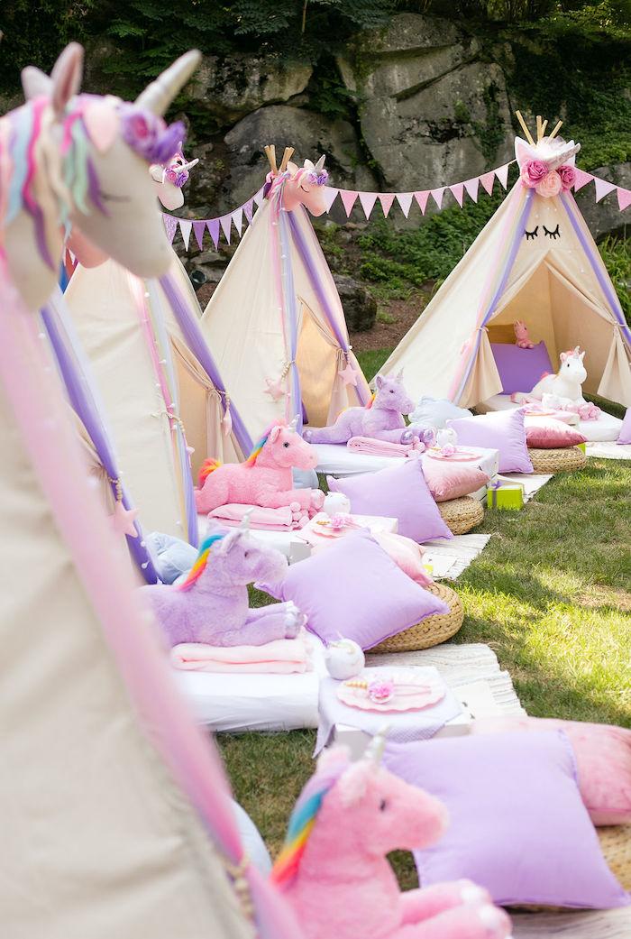 Unicorn Tentscape from a Rainbow Unicorn Birthday Party on Kara's Party Ideas | KarasPartyIdeas.com (36)